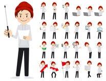 Αρσενικό σύνολο χαρακτήρα Παρουσίαση στη διάφορη δράση Διανυσματική απεικόνιση