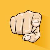 Αρσενικό χέρι που δείχνει το δάχτυλο σε σας πέρα από το κίτρινο υπόβαθρο Στοκ Φωτογραφίες