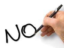 Αρσενικό χέρι που δεν γράφει σε ` κανένα ` στα κεφαλαία γράμματα σε μια κενή κάρτα που απομονώνεται στο λευκό Στοκ Εικόνα
