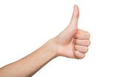 Αρσενικό χέρι που κάνει τον αντίχειρα επάνω στη χειρονομία που απομονώνεται στο λευκό Στοκ φωτογραφία με δικαίωμα ελεύθερης χρήσης