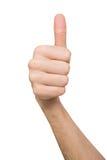 Αρσενικό χέρι που κάνει τον αντίχειρα επάνω στη χειρονομία που απομονώνεται στο λευκό Στοκ Εικόνες