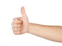 Αρσενικό χέρι που παρουσιάζει σημάδι αντίχειρων που απομονώνεται Στοκ Φωτογραφίες