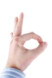 Αρσενικό χέρι που το εντάξει σημάδι Στοκ εικόνα με δικαίωμα ελεύθερης χρήσης