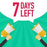 Αρσενικό megaphone εκμετάλλευσης χεριών 7 ημέρες που αφήνονται με τη λεκτική φυσαλίδα απεικόνιση αποθεμάτων