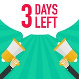Αρσενικό megaphone εκμετάλλευσης χεριών 3 ημέρες που αφήνονται με τη λεκτική φυσαλίδα διανυσματική απεικόνιση