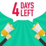 Αρσενικό megaphone εκμετάλλευσης χεριών 4 ημέρες που αφήνονται με τη λεκτική φυσαλίδα απεικόνιση αποθεμάτων