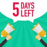 Αρσενικό megaphone εκμετάλλευσης χεριών 5 ημέρες που αφήνονται με τη λεκτική φυσαλίδα διανυσματική απεικόνιση