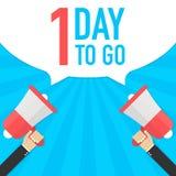 Αρσενικό megaphone εκμετάλλευσης χεριών με 1 ημέρα για να πάει λεκτική φυσαλίδα μεγάφωνο Έμβλημα για την επιχείρηση, το μάρκετινγ διανυσματική απεικόνιση