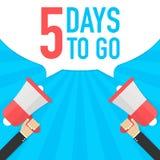 Αρσενικό megaphone εκμετάλλευσης χεριών με 5 ημέρες για να πάει λεκτική φυσαλίδα μεγάφωνο Έμβλημα για την επιχείρηση, το μάρκετιν Στοκ Εικόνα