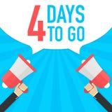 Αρσενικό megaphone εκμετάλλευσης χεριών με 4 ημέρες για να πάει λεκτική φυσαλίδα μεγάφωνο Έμβλημα για την επιχείρηση, το μάρκετιν Στοκ εικόνα με δικαίωμα ελεύθερης χρήσης