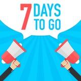 Αρσενικό megaphone εκμετάλλευσης χεριών με 7 ημέρες για να πάει λεκτική φυσαλίδα μεγάφωνο Έμβλημα για την επιχείρηση, το μάρκετιν διανυσματική απεικόνιση