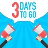 Αρσενικό megaphone εκμετάλλευσης χεριών με 3 ημέρες για να πάει λεκτική φυσαλίδα μεγάφωνο Έμβλημα για την επιχείρηση, το μάρκετιν ελεύθερη απεικόνιση δικαιώματος