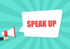 Αρσενικό megaphone εκμετάλλευσης χεριών με μιλά επάνω τη λεκτική φυσαλίδα μεγάφωνο Έμβλημα για την επιχείρηση, το μάρκετινγκ και  ελεύθερη απεικόνιση δικαιώματος