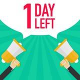 Αρσενικό megaphone εκμετάλλευσης χεριών με τη 1 αημένη ημέρα λεκτική φυσαλίδα ελεύθερη απεικόνιση δικαιώματος