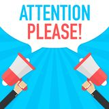 Αρσενικό megaphone εκμετάλλευσης χεριών με τη λεκτική φυσαλίδα προσοχής παρακαλώ μεγάφωνο Έμβλημα για την επιχείρηση και το μάρκε Στοκ Εικόνες