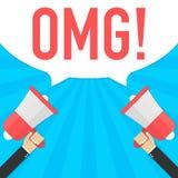 Αρσενικό megaphone εκμετάλλευσης χεριών με τη λεκτική φυσαλίδα omg ελεύθερη απεικόνιση δικαιώματος
