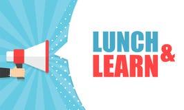 Αρσενικό megaphone εκμετάλλευσης χεριών με το μεσημεριανό γεύμα και μαθαίνει τη λεκτική φυσαλίδα μεγάφωνο Έμβλημα για την επιχείρ ελεύθερη απεικόνιση δικαιώματος