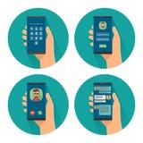 Αρσενικό smartphone εκμετάλλευσης με το δακτυλικό αποτύπωμα για την πρόσβαση στο τηλέφωνο στην οθόνη απεικόνιση αποθεμάτων