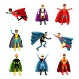 Αρσενικό superheroes στο διαφορετικό σύνολο κοστουμιών ζωηρόχρωμων διανυσματικών απεικονίσεων Στοκ Εικόνες