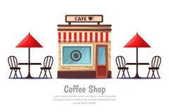 Αρτοποιείο και πίνακες καφέδων οδών με την κόκκινη ομπρέλα, που απομονώνεται στο άσπρο υπόβαθρο Διανυσματικά εικονίδια ή στοιχεία διανυσματική απεικόνιση
