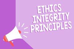 Αρχές ακεραιότητας ηθικής κειμένων γραψίματος λέξης Επιχειρησιακή έννοια για την ποιότητα της ύπαρξης τίμιος και της κατοχής ισχυ στοκ εικόνα με δικαίωμα ελεύθερης χρήσης