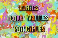 Αρχές τιμών πυρήνων ηθικής ελεύθερη απεικόνιση δικαιώματος