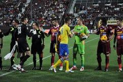 Αρχή αγώνων ποδοσφαίρου Στοκ Φωτογραφία