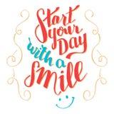 Αρχίστε την ημέρα σας με μια τυπογραφία χαμόγελου qoute Στοκ εικόνα με δικαίωμα ελεύθερης χρήσης