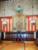 Αρχαία αίθουσα στην αίθουσα πόλεων της Βαρκελώνης Στοκ Φωτογραφία