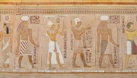 Αρχαία αιγυπτιακά έργα ζωγραφικής τοίχων Στοκ Εικόνες