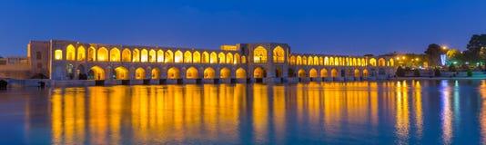 Αρχαία γέφυρα Khaju, Πολωνός Khaju, στο Ισφαχάν, Ιράν Στοκ Φωτογραφία