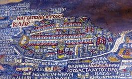 Αρχαία εκκλησία Madaba Ιορδανία Αγίου George μωσαϊκών χαρτών της Ιερουσαλήμ Στοκ Φωτογραφία
