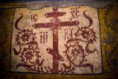 Αρχαία ζωγραφική στην εκκλησία Στοκ Εικόνες