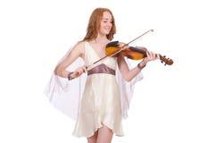 Αρχαία θεά με το βιολί Στοκ Εικόνες