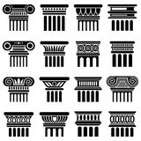 Αρχαία διανυσματικά εικονίδια στηλών αρχιτεκτονικής της Ρώμης Στοκ Φωτογραφία