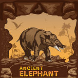Αρχαία διανυσματική έννοια απεικόνισης ελεφάντων Στοκ Εικόνα