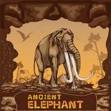 Αρχαία διανυσματική έννοια απεικόνισης ελεφάντων Στοκ Φωτογραφίες
