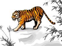 αρχαία κινεζική τίγρη ύφου&s Στοκ Φωτογραφία