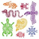 Αρχαία μεξικάνικη διανυσματική απεικόνιση συμβόλων Των Μάγια πολιτισμός Ινδός με τα σχέδια τοτέμ Στοκ Εικόνες