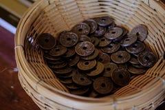 Αρχαία νομίσματα 1909 της Ταϊλάνδης Στοκ Εικόνα