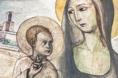 Αρχαία νωπογραφία της Mary με το μωρό Ιησούς στοκ φωτογραφίες