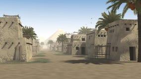 Αρχαία οδός με τις καλύβες λάσπης ελεύθερη απεικόνιση δικαιώματος
