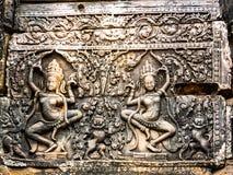 Αρχαία πέτρινη γλυπτική σε Ankor Thom Στοκ εικόνες με δικαίωμα ελεύθερης χρήσης