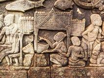 Αρχαία πέτρινη γλυπτική του αρχαίου Khmer τρόπου ζωής Στοκ Εικόνα