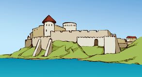 Αρχαία πόλη στο βράχο r διανυσματική απεικόνιση