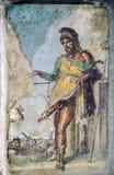 Αρχαία ρωμαϊκή νωπογραφία του ρωμαϊκού Θεού του PRI γονιμότητας και σφοδρής επιθυμίας Στοκ Φωτογραφία