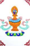 αρχαία τέχνη που χρωματίζει το θιβετιανό τοίχο Στοκ φωτογραφία με δικαίωμα ελεύθερης χρήσης