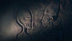 Αρχαία τέχνη τοίχων αλλοδαπών στον αρχαίο τάφο απόθεμα βίντεο