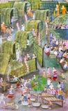 Αρχαία ταϊλανδική mural ζωγραφική ύφους Lanna του βουδιστικού φεστιβάλ Στοκ Εικόνα