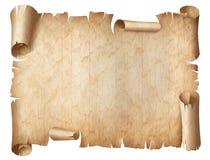 Αρχαία φορεμένη απεικόνιση περγαμηνής που απομονώνεται στο λευκό στοκ εικόνες με δικαίωμα ελεύθερης χρήσης